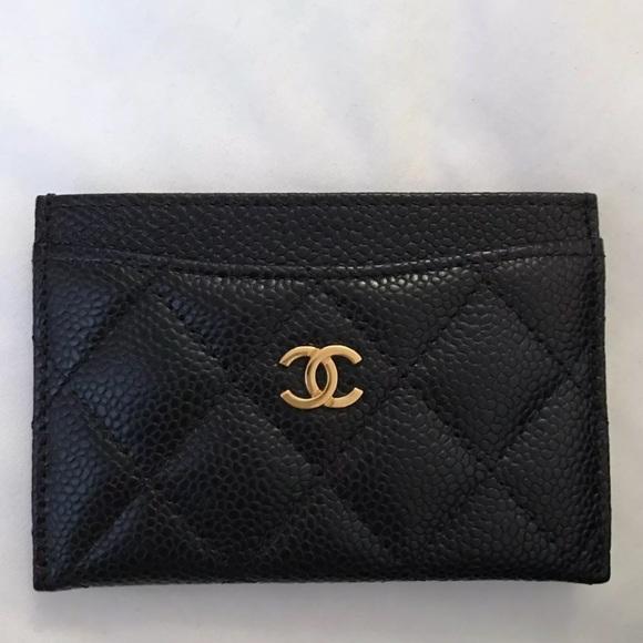 7a305b1c1967 CHANEL Handbags - Chanel caviar black card holder with gold hardware